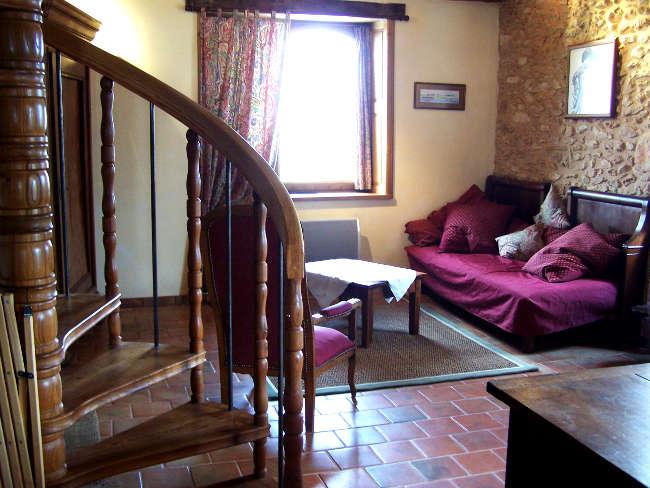 Pré Le Terme, le coin salon, au Buisson de Cadouin